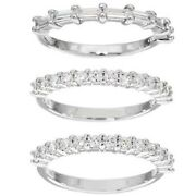 Valentines Day D/vvs1 1.45ct Sterling Silver Round And Baguette Band Ring Set 3