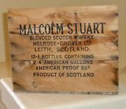 Vintage Malcolm Stuart Blended Scotch Whisky Wooden Crate Product Of Scotland