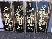 Antique/vintage Oriental Asian Black Lacquer Mother Of Pearl/abalone Art Piece