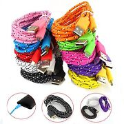 1m 3ft Braided Fabric Micro Usb Dataandsync Charger Cable Cord For Samsung Gbm01