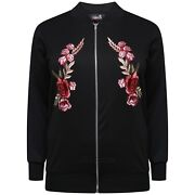 Ladies Womens Floral Embroidered Bomber Jacket Plus Size 14 16 18 20 22 24 26 28