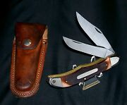 Schrade 25ot Knife And Sheath 1970s Old Timer Folding Bowie 5-1/4 Brilliant Rare