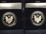 2016 W + 2017 W American Eagle One Ounce Silver Proof 1 Oz Box And Coa 2 Coins