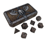 Dwarven Chest With Gunmetal Brass Color With Black Numbers Metal Dice