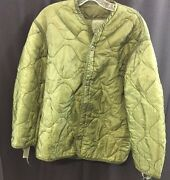 One Usgi Cold Weather Coat Liner 3 Button Up Od Green Great Condition