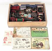 Box With Mechanical Pieces With Large Amount Of Parts. Metal. France. Circa 1920