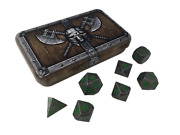 Dwarven Chest With Rackneand039s Curse | Gunmetal Gray With Green Numbers Metal Dice