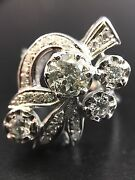Vintage 1.27ct Diamond Antique 14k White Gold 0.78ct Ring Used Re-polished