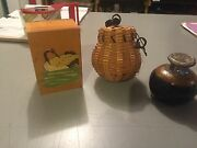 Lot of 3 Mini Baskets Boxes Pottery, Handmade, Artist Signed, Hand Carved, Swan