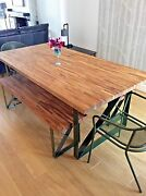 Oak Dining Table And Benches   Handmade Bespoke Steel Legs   All Sizes Custom Made