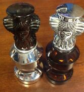 Collectible Avon Chess Queens Perfume Cologne Two Empty Bottles Vintage
