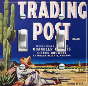 Trading Post Brand Citrus Growers Vintage Crate Label Dbl Switch Plate Free S/h