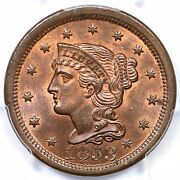 1853 N-6 Pcgs Ms 65+ Rb Cc Level Braided Hair Large Cent Coin 1c Ex Twin Leaf