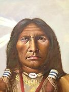 Indian Chief Oil Painting Artist F. Rowe Noted Western Painter