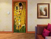 Gustav Klimt The Kiss Door Wrap Decal Wall Sticker Mural Personalized Name D121