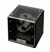 Diplomat Black Double Dual Battery Powered Watch Winder Display Storage Case