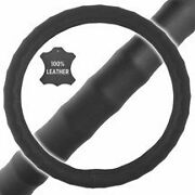 New Premium Genuine Leather Car Truck Black Steering Wheel Cover - Small Size
