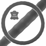 New Premium Genuine Leather Car Truck Gray Steering Wheel Cover - Small Size