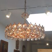 Palwa Vintage Crystal Glass Lamp Chandelier With Gold Plated Brass Circa 1960