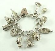 Exquisite Sterling Silver Heart Padlock Charm Bracelet And 11 Unique Charms
