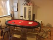 Custom Brand New 72 Poker Table With Water Resistant Red Speed Felt