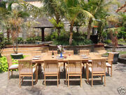 Dslu 9pc Dining 94 Rectangle Table Arm Stacking Chair Set Grade-a Teak Outdoor