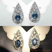 7x5mm Natural 6 Ray Blue Star-sapphire Earring With Topaz In 925 Sterling Silver