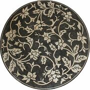 Large Black And Cream Floral Motif Natural Stone 90 Round Marble Mosaic Md1981