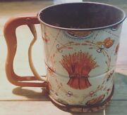 Large Vintage Androck Cake Flour Sifter Great Condition W/litho Graphics.