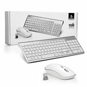 Silver Wireless Keyboard And Mouse Combo Set 2.4g For Mac Apple Pc Full Size New