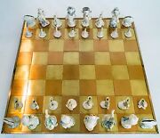 Hand Sculpted Ceramic Chess Set - 32 Pieces + Brass/copper Board One Of A Kind