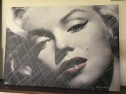 Rare Collectible Marilyn Monroe Canvas Painting Hand Signed By Artist