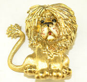 Vintage Signed Martine Heavy 14k Yellow Gold Lion Pin With Enamel Face 28.5 Gram