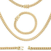 Cuban Link Chain Necklace Bracelet Stainless Steel Men Fashion Jewelry Set Gold