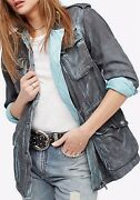 Free People Double Cloth Military Jacket Cargo Army Pink Blue Green Ob610284