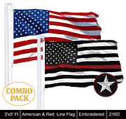 Wholesale Lot | Usa 3x5ft Embroidered And Thin Red Line 3x5ft Embroidered Flag