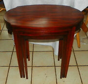 Mahogany Hepplewhite Nesting Tables / End Tables By Mersman T229