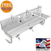 Hand Sink 3 Person Multi User 60 Hands Free Knee Operation No Soap Dispenser