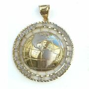10k Solid Yellow White Gold World Is Yours Globe Pendant - Earth Necklace Charm