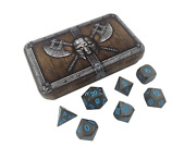 Dwarven Chest With Ice Kingand039s Revenge | Gunmetal Gray W/ Blue Numbers Metal Dice