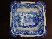 Antique Flow Blue Footed Serving Bowl Blue And White Porcelain Chinese Ducks Boats