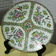 Large Antique Chinese Qing Rose Medallion Porcelain Charger Or Platter Birds And