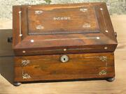19th French Regency Rosewood Sewing Jewelry Box Mother Of Pearl Mop Inlay