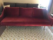 Mid-century Red Velvet Sofa Couch With Gold Legs Modern 3 Seater