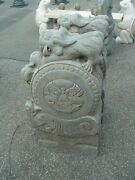 Nice Pair Of Carved Stone Dragon Garden Figures As041