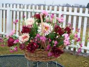 Christmas Burgundy Silk Flowers Grave Cemetery Tombstone Saddle Frame In Basket