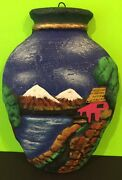 Vintage Clay Jug Shaped Wallhanging With Scene Of Great Wall Mountains Gift
