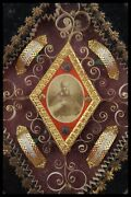 † 19th St Louis + Vhm Founders + St Alacoque Reliquary 4 Relics Wax Seal France