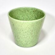 Vintage California USA Pottery Grow Pot Speckled Black over Green Gloss