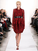 New Oscar De La Renta Black And Red French Lace Guipure Bubble Belted Dress 6